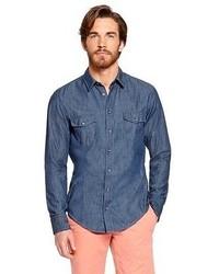 Hugo Boss Eddaiee Slim Fit Cotton Chambray Button Down Shirt