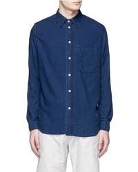 Paul Smith Jeans Palm Tree Print Sleeve Chambray Shirt