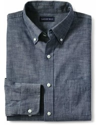 Lands' End Landsend Tailored Fit Buttondown Chambray Shirt