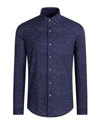 Bugatchi Ooohcotton Tech Chambray Knit Button Up Shirt