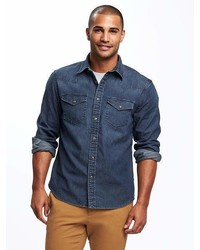 Old Navy Slim Fit Chambray Built In Flex Western Shirt For