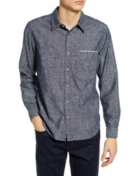 7 For All Mankind Slim Fit Hidden Pocket Selvedge Button Up Chambray Shirt
