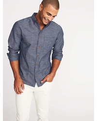 Old Navy Slim Fit Linen Blend Chambray Shirt For