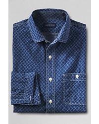 Classic Tailored Fit Print Chambray Shirt Indigo Net Printl