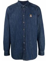 Moschino Teddy Bear Chambray Long Sleeve Shirt