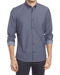 Nordstrom Trim Fit Non Iron Stretch Chambray Button Up Shirt