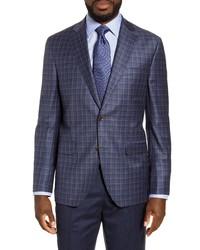 David Donahue Arnold Classic Fit Plaid Wool Sport Coat