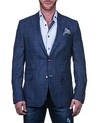 Maceoo Beethoven Regular Fit Blue Plaid Sport Coat
