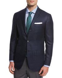 Kiton Check Cashmere Sport Coat Blue