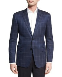 Herringbone windowpane two button sport coat navy medium 4016141