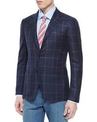 Kiton Wear Kiton Cashmere Blend Windowpane Sport Coat Navycoral