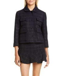 RED Valentino Metallic Check Wool Blend Crop Jacket