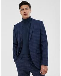 Jack & Jones Premium Skinny Suit Jacket In Blue Check