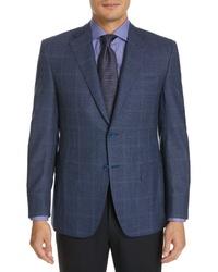 Canali Sienna Classic Fit Windowpane Wool Sport Coat