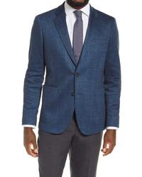 Nordstrom Men's Shop Trim Fit Plaid Stretch Knit Sport Coat