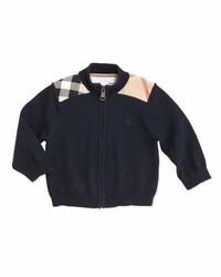 Burberry Christian Woven Check Shoulder Zip Cardigan Navy 6 18 Months