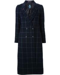 Navy Check Coat