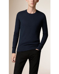 Burberry Check Detail Cotton Cashmere Sweater