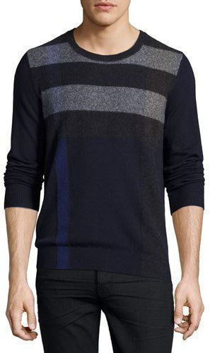 Burberry Feldon Graphic Check Cashmere Cotton Sweater Navy | Where ...