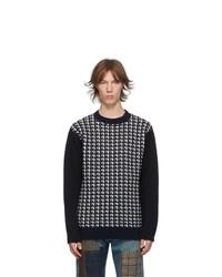 Junya Watanabe Navy Wool Check Sweater