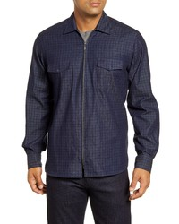 Bugatchi Classic Fig Windowpane Zip Up Denim Shirt Jacket