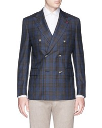 Isaia Gregory Glen Plaid Wool Double Breasted Blazer
