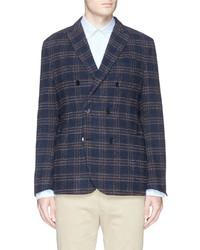Lardini Reversible Glen Plaid Wool Windbreaker Blazer