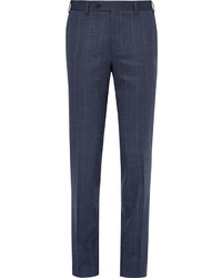 Blue prince of wales checked stretch wool trousers medium 4948132