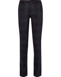 Blue slim fit checked stretch wool blend trousers medium 3941860