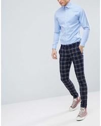 Asos Design Wedding Super Skinny Suit Pants In Navy Waffle Check