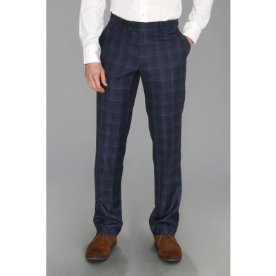 Moods Of Norway Even Flo Slim Check Suit Pant Dress Pants Navy Blue