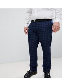 Farah Smart Farah Hurstleigh Skinny Fit Check Suit Trousers In Navy At Asos