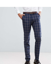 Harry Brown Tall Slim Fit Blue Check Windowpane Suit Pants