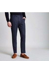 River Island Navy Check Skinny Fit Suit Pants