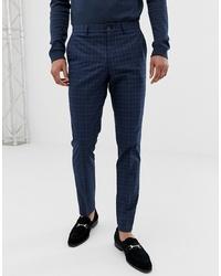 Jack & Jones Premium Skinny Suit Trousers In Blue Check