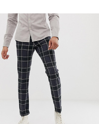 e6951838 ASOS DESIGN Tall Skinny Crop Smart Trouser In Navy Check With Ticket Pocket