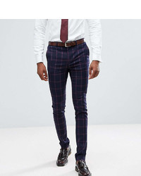 Asos Tall Super Skinny Suit Pants In Navy And Pink Windowpane Check