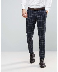 Asos Wedding Skinny Suit Pants In Navy And White Windowpane Check