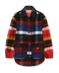 Burberry Checked Brushed Alpaca And Wool Blend Shirt