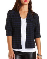 Charlotte Russe Checked Plaid Button Up Top