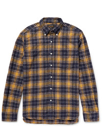 Beams Plus Shaggy Button Down Collar Checked Brushed Cotton Flannel Shirt