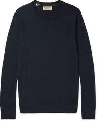 Burberry Slim Fit Check Trimmed Cashmere Sweater
