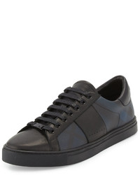 Burberry Ritson Pvc Check Leather Low Top Sneaker Navy