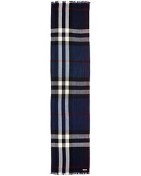 Woolcashmere tricolor check lightweight scarf navy medium 608731
