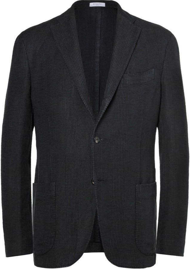 ... Boglioli Navy Slim Fit Checked Linen And Cotton Blend Blazer ...