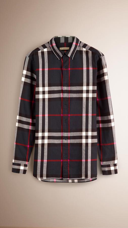 ... Burberry Check Cotton Flannel Shirt ... 18c0d4d0bcfc0