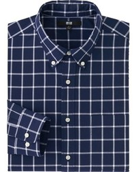 Uniqlo Extra Fine Cotton Broadcloth Checked Dress Shirt