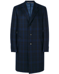 Canali Check Detail Single Breasted Coat