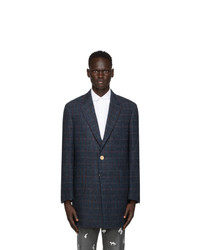 Thom Browne Navy Tweed Harris Chesterfield Sack Coat