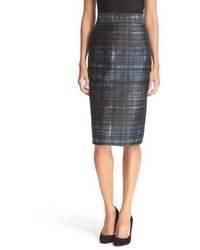 Milly Confetti Check Pencil Skirt